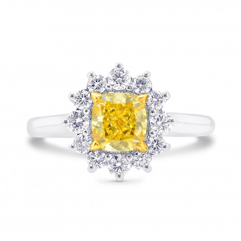 Fancy Intense Yellow Cushion Diamond Prong Halo Ring, ARTIKELNUMMER 26381R (1,40 Karat TW)
