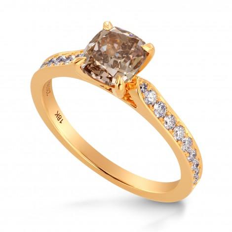 Fancy Brown Cushion & Pave Diamond Ring, SKU 230355 (1.6Ct TW)