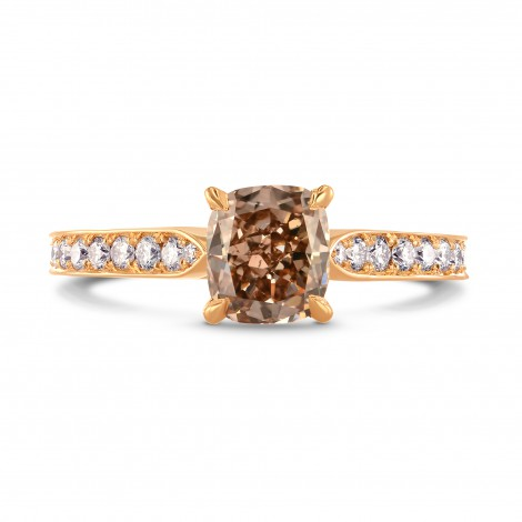 Fancy Brown Cushion & Pave Side Stone Diamond Ring, ARTIKELNUMMER 230355 (1,60 Karat TW)