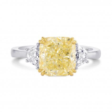 Fancy Light Yellow Cushion Diamond Ring, SKU 236036 (3.54Ct TW)