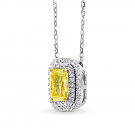 Fancy Intense Yellow Radiant Diamond Double Halo Pendant, SKU 236200 (1.2Ct TW)