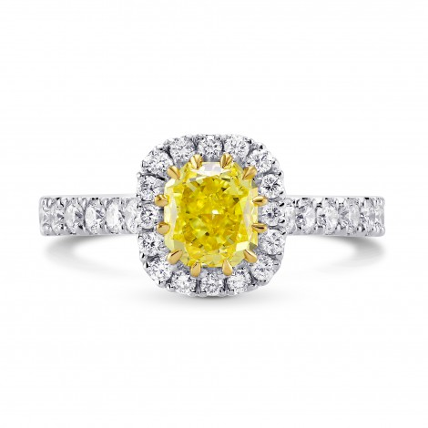 Fancy Intense Yellow Radiant Halo Diamond Ring, SKU 236202 (1.24Ct TW)