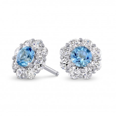 Aquamarine & Diamond Halo Earrings, SKU 236461 (2.42Ct TW)