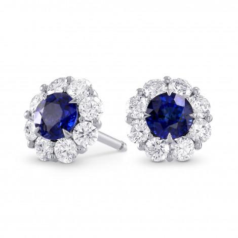 Sapphire and Diamond Halo Earrings, SKU 237899 (1.82Ct TW)