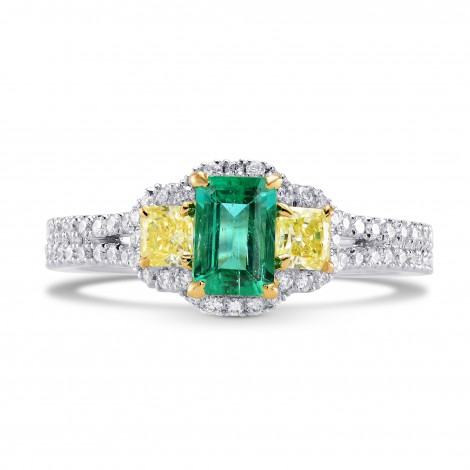 Green Emerald and Fancy Yellow Diamond 3 Stone Ring, SKU 242443 (1.21Ct TW)