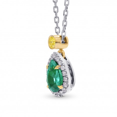 Pear Emerald and Diamond Drop Halo Pendant, SKU 242444 (0.49Ct TW)
