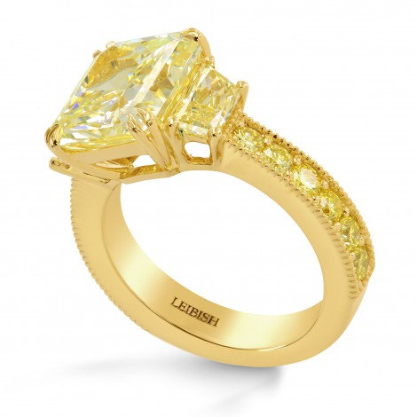 Light Yellow Radiant and Fancy Light Yellow Trapezoid Diamond Ring, SKU 244518 (5.64Ct TW)
