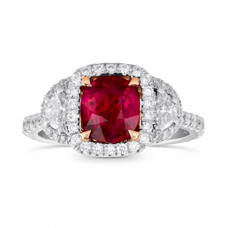 Red Mozambique Oval Ruby & Half-Moon Diamond Ring, SKU 245349 (2.26Ct TW)