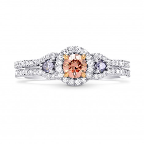 Argyle Fancy Orangy Pink & Fancy Blue Diamond Halo Ring, ARTIKELNUMMER 247693 (0,64 Karat TW)