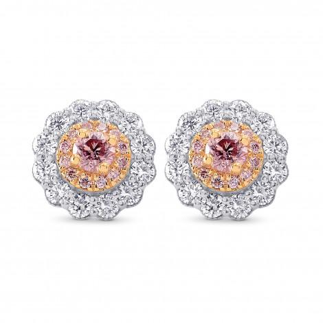 Argyle Fancy Pink Diamond Floral Halo Earrings, SKU 247833 (1.07Ct TW)