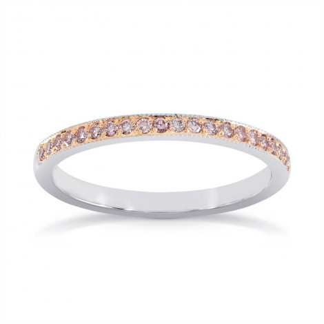 White & Rose Gold Fancy Light Pink Diamond Milgrain Band Ring, SKU 24938R (0.16Ct TW)