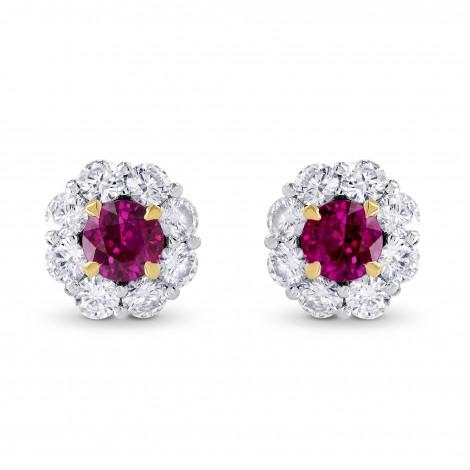 Ruby & Diamond Floral Halo Earrings, SKU 249442 (1.67Ct TW)