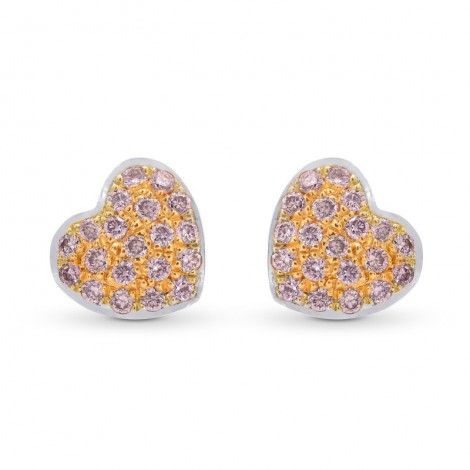 Fancy Pink Diamond Pave Heart Earrings, SKU 249708 (0.15Ct TW)