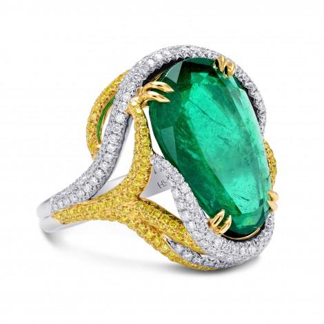 Emerald Pear & Yellow Diamond Designer Ring, SKU 250481 (9.72Ct TW)