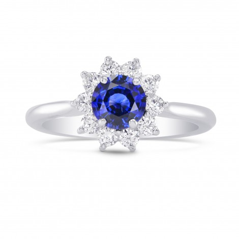 Round Sapphire & Diamond Halo Dress Ring, SKU 251360 (1.02Ct TW)