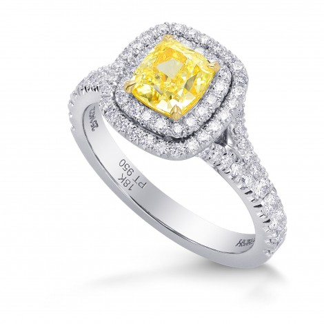 Fancy Intense Yellow Cushion Diamond Double Halo Ring (1.56Ct TW)