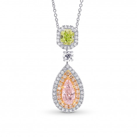 Pink Pear & Green Radiant Diamond Drop Pendant, SKU 251839 (1.70Ct TW)