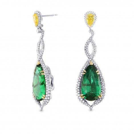 Green Emerald & Canary Yellow Diamond Earrings (17.91Ct TW)