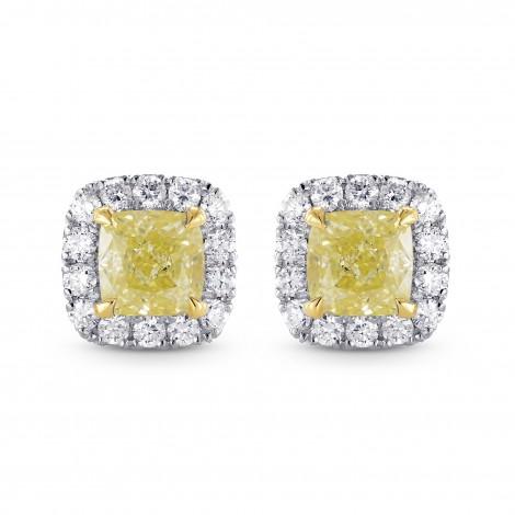 Fancy Yellow Cushion Diamond Halo Earrings, SKU 25501R (1.20Ct TW)