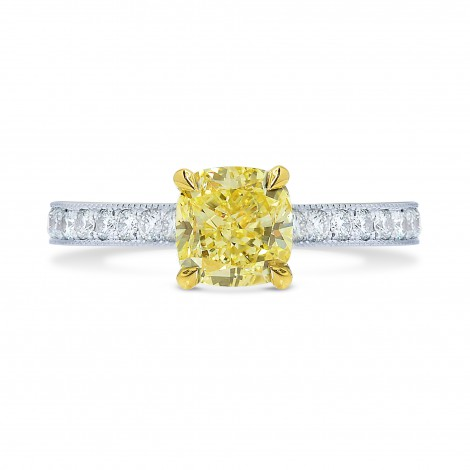 Fancy Intense Yellow Cushion Diamond Pave Milgrain Ring, SKU 25507R (0.84Ct TW)