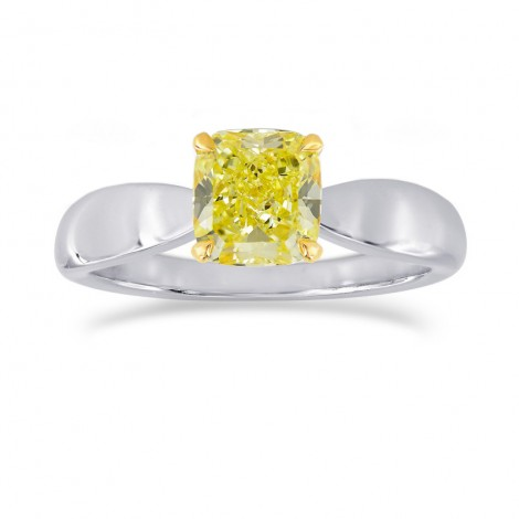 Fancy Intense Yellow Cushion Diamond Bowed Solitaire Ring, SKU 25513R (1.00Ct)