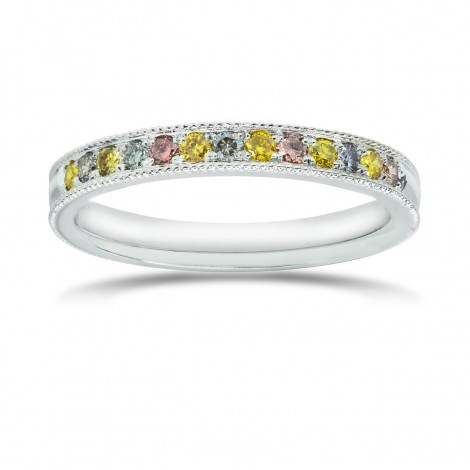 Milgrain Multicolored Diamond Stackable Band Ring, SKU 25539R (0.25Ct TW)