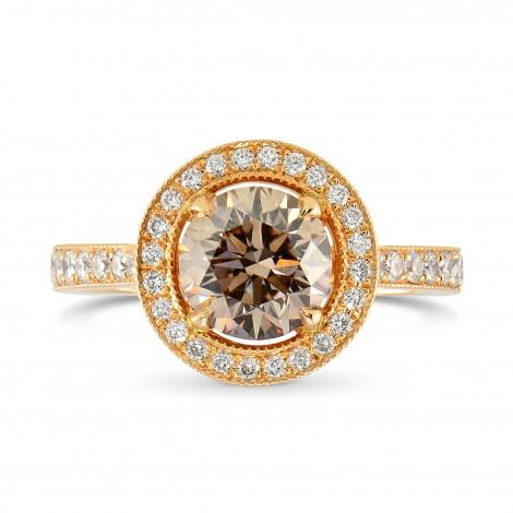 Rose Gold Fancy Brown Round Brilliant Diamond Milgrain Halo Ring, SKU 25544R (1.35Ct TW)
