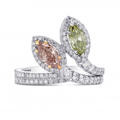 Extraordinary Pink & Green Marquise 2 Stone Diamond Ring, SKU 255557 (1.60Ct TW)