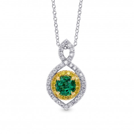 Round Green Emerald and Yellow Diamond Drop Pendant, SKU 255559 (0.62Ct TW)