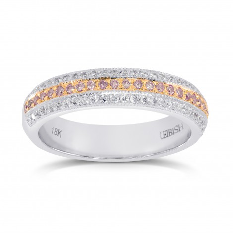 Fancy Light Pink and White Pave Diamond Milgrain Wedding Band, SKU 25583R (0.48Ct TW)