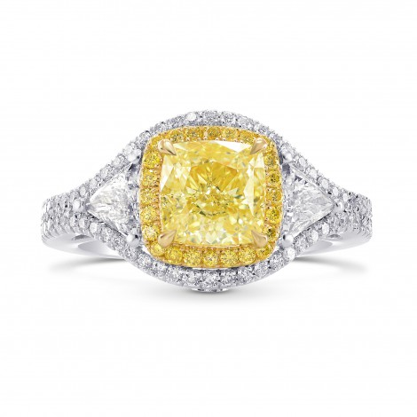 Fancy Yellow Cushion & Triangle Diamond Halo Ring, SKU 256835 (2.76Ct TW)