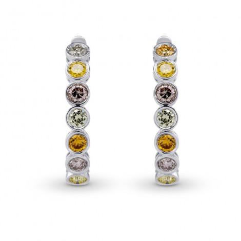 Multicolor Diamond Hoop Drop Earrings, SKU 25716R (1.10Ct TW)
