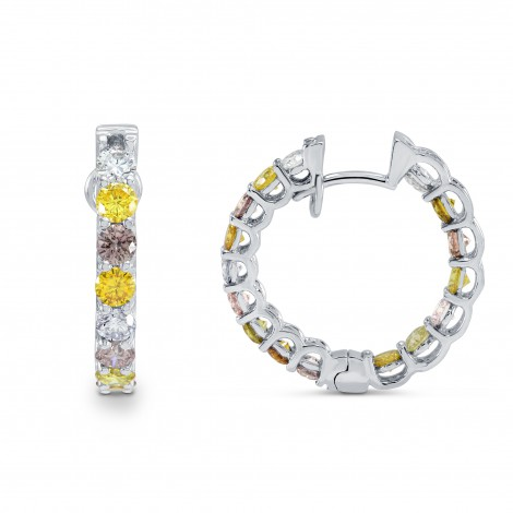 Multicolored Diamond Hoop Earrings, SKU 2835R (2.5Ct TW)
