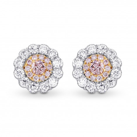 Fancy Pink & White Diamond Pave Flower Earrings, SKU 258123 (0.53Ct TW)