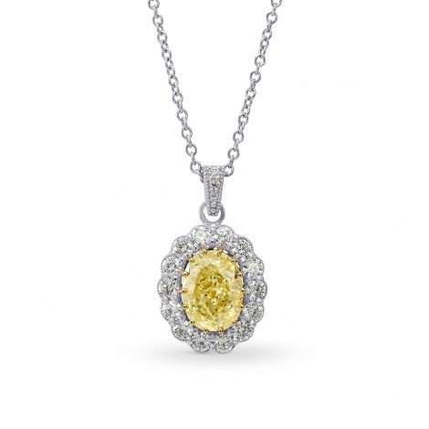 Fancy Yellow Oval Diamond Drop Halo Pendant, SKU 26744R (1.30Ct TW)
