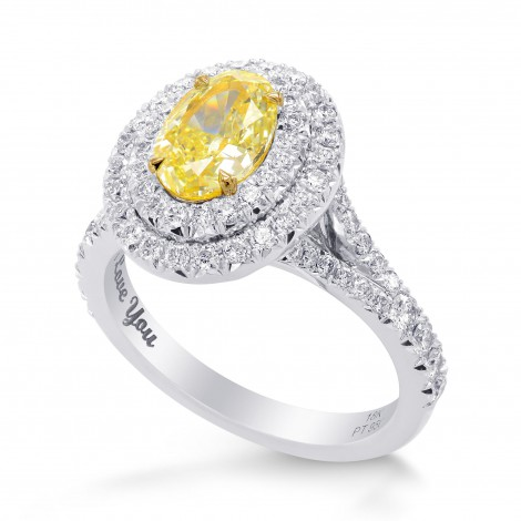 Fancy Yellow Oval Double Halo Ring, SKU 258956 (1.78Ct TW)