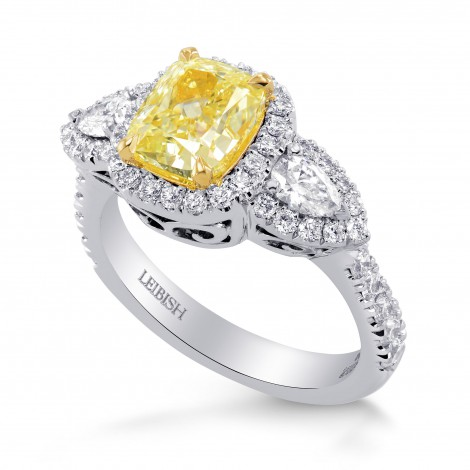 Fancy Yellow Cushion & Pear Diamond Ring, SKU 259994 (2.35Ct TW)