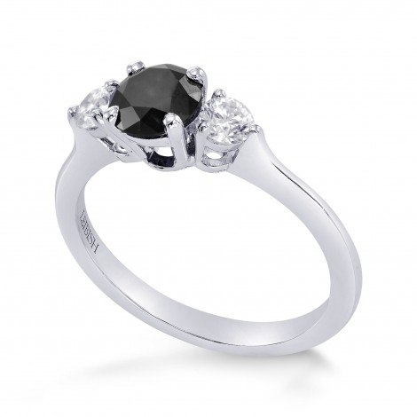 Fancy Black & White Diamond Round Brillant 3 Stones Ring, SKU 260884 (1.10Ct TW)