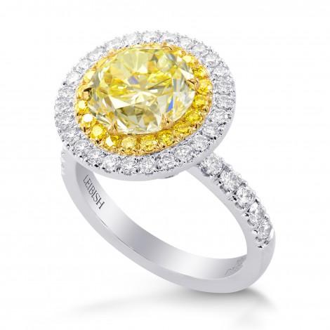 Fancy Yellow Diamond Double Halo Ring, SKU 261956 (3.45Ct TW)