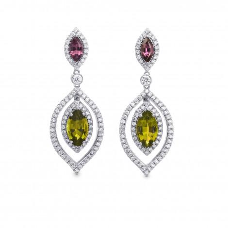 Tsavorite, Tourmaline & Diamond Drop Earrings, SKU 262817 (4.68Ct TW)