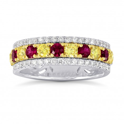 Ruby & Fancy Intense Yellow Diamond Band ring, SKU 26402R (1.20Ct TW)