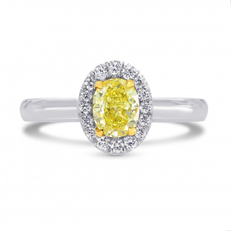 Fancy Intense Yellow Oval Diamond Halo Ring, SKU 26417R (0.65Ct TW)