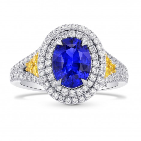 Oval Sapphire & Yellow Diamond Accent Halo Ring, SKU 264520 (2.30Ct TW)
