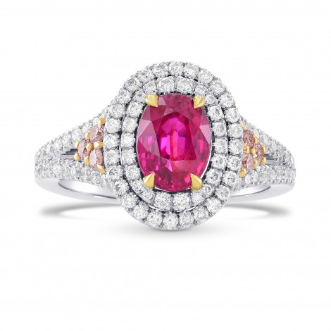 Unheated Ruby Amp Pink Diamond Double Halo Ring Sku 264521