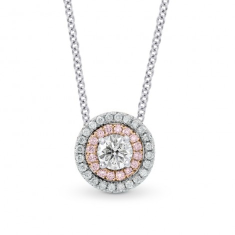 White Pink & White Diamond Round Double Halo Pendant, SKU 26456R (0.69Ct TW)