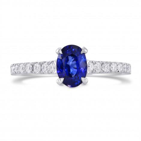 Oval Sapphire & Yellow Diamond Accent Ring, SKU 264688 (1.72Ct TW)