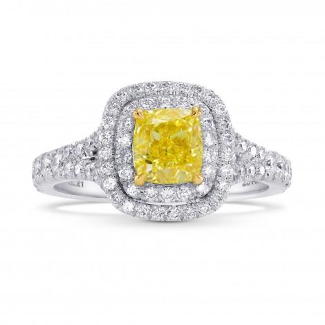 Platinum 1 Carat Fancy Intense Yellow Cushion Diamond Double Halo Ring, SKU 26478R (1.55Ct TW)