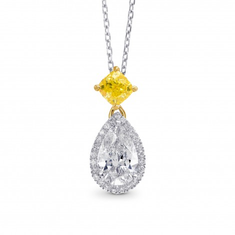 White Pear and Fancy Vivid Yellow Diamond Pendant, SKU 264888 (1.50Ct TW)