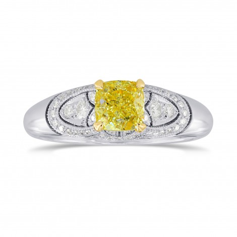 Fancy Yellow Cushion Diamond Art Deco Ring, SKU 26492R (0.89Ct TW)