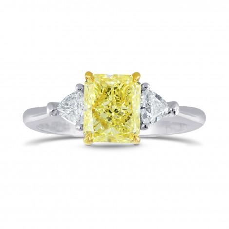 Platinum Fancy Yellow Radiant & Triangle Diamond Ring, SKU 26527R (1.25Ct TW)